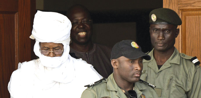 This file photo taken on June 3, 2015 shows former Chadian dictator Hissene Habre leaving the Dakar