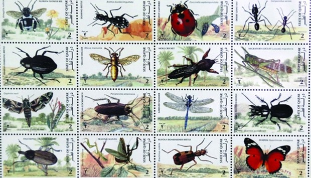 Stamps depicting environment life in Qatar which are on display at the exhibition