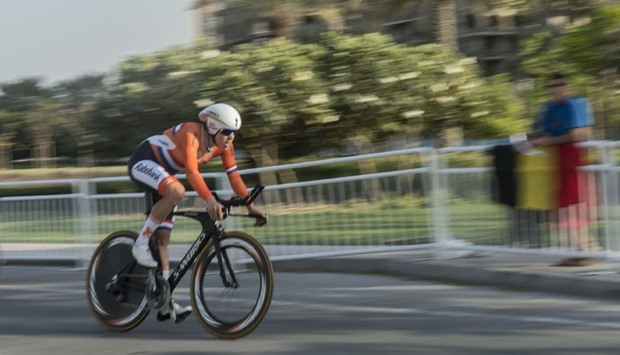 The Netherlands' Ellen van Dijk competes in the women's elite individual time trial event