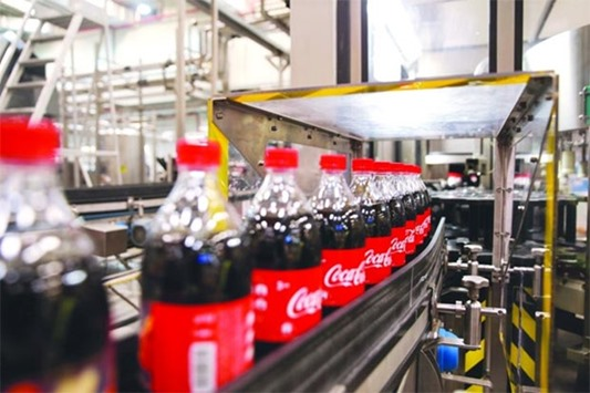 Coca-Cola products fresh from the assembly line
