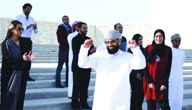 Saif al-Farai, from Oman, celebrates as he gets chosen to be one of the top nine innovators to compe