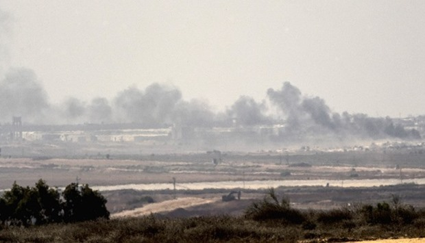 Smoke rising from the Hamas-ruled Gaza Strip following an Israeli military strike