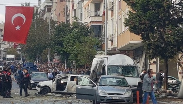 A suspected car bomb  exploded near a police station in Istanbul