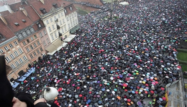 Demonstration to protest against plans for a total ban on abortion  in Warsaw