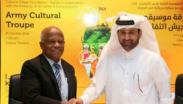 Katara general manager Dr Khalid Ibrahim al-Sulaiti (right) and Sri Lankan ambassador WM Karunadasa