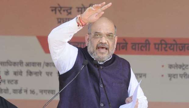 BJP chief Amit Shah speaks at a rally in Amethi yesterday.