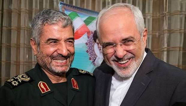 Islamic Revolutionary Guard Corps (IRGC) commander Mohammad Ali Jafari (L) and Iran's Foreign Minist