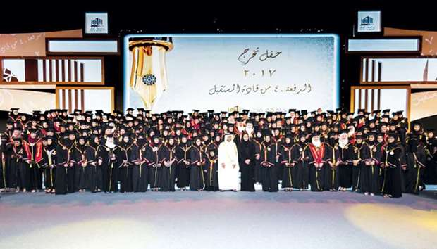 Her Highness Sheikha Jawaher patronised QU's Graduation Ceremony of the 40th batch (2017) of female