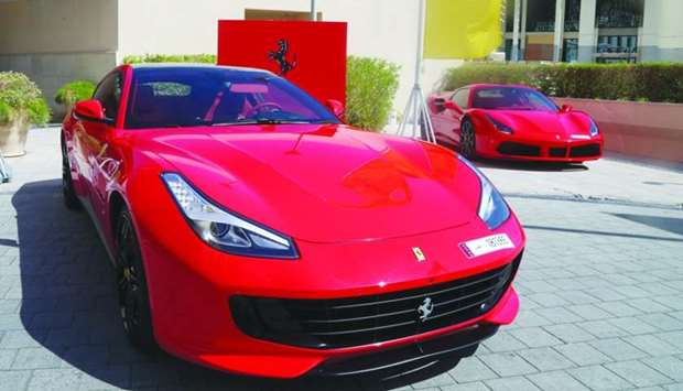 The Ferrari 488 and GTC4Lusso in the parking area of Al Sultan Brahim restaurant in Doha. PICTURES: