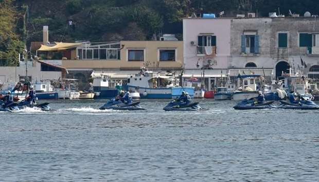 Italian police patrol in the port of island Ischia