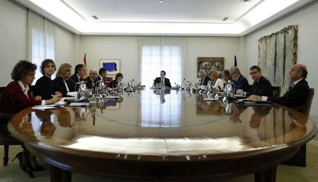 Spain's Prime Minister Mariano Rajoy heads a special cabinet meeting at the Moncloa Palace in Madrid