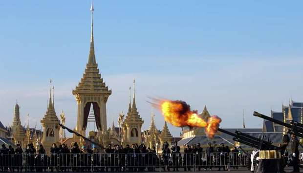 Thai royal guards salute during a funeral rehearsal for late Thailand's King Bhumibol Adulyadej near