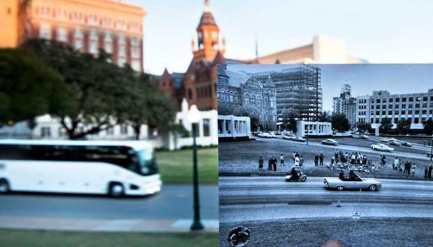 A historic photo of post JFK assassination Dealey Plazza displayed near its original location in Dal