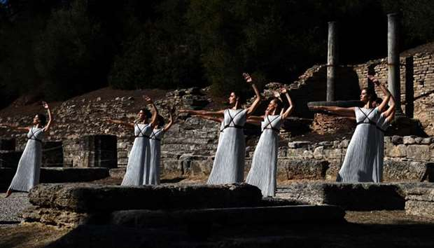 Actresses perform at the Temple of Hera during a dressed rehearsal