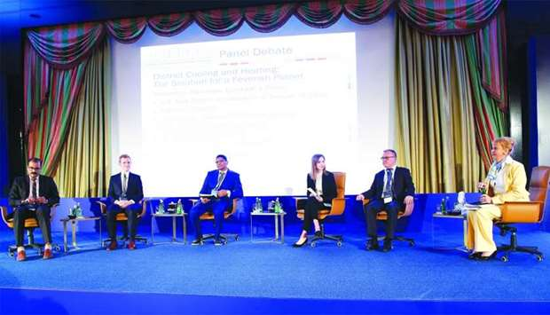 Sweden's ambassador to Qatar Eva Polona (right) speaking at a panel discussion in a conference on he