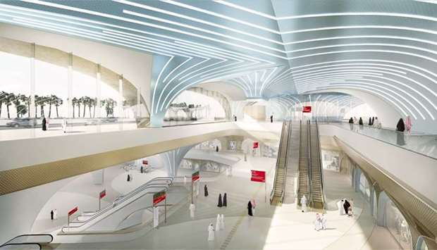 An artist's impression of a Doha Metro station