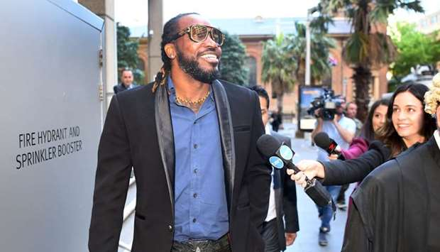 West Indies cricketer Chris Gayle leaving the New South Wales Supreme Court in Sydney on October 23,