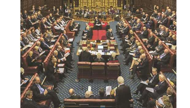 The House of Lords chamber sits in session at the Houses of Parliament in London yesterday.