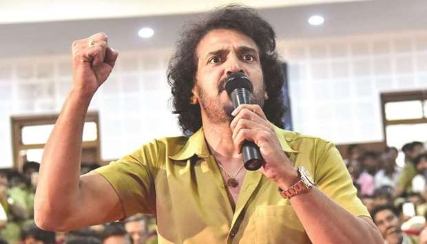Kannada actor Upendra gestures as he speaks at press conference in Bengaluru yesterday.
