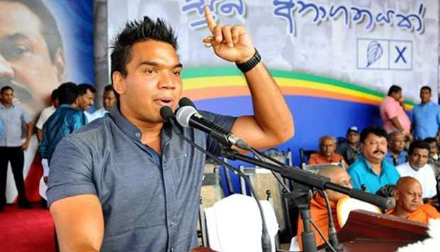 The protest was led by Namal Rajapakse, the legislator son of Mahinda