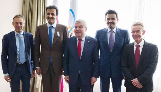 His Highness the Amir Sheikh Tamim bin Hamad al-Thani met with IOC President Dr Thomas Bach in Bueno