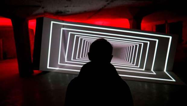 """An audiovisual installation titled """"Pêle-Mêle"""" by French artist Olivier Ratsi at 'White Night 2018'"""