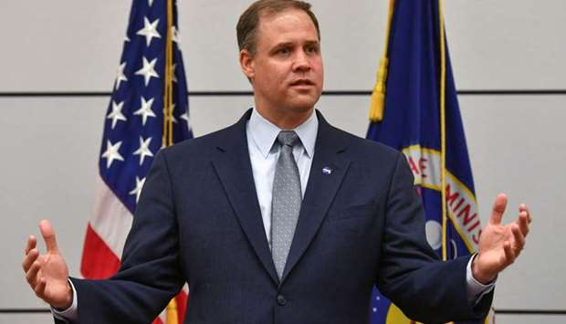 NASA Administrator Jim Bridenstine meets with the media at the US embassy in Moscow