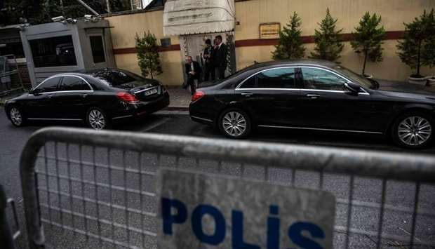 Vehicles with diplomatic plaques are seen in front of the Saudi Arabia's consulate in Istanbul
