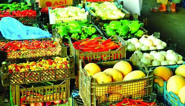 A variety of local vegetables at Doha Central Market.