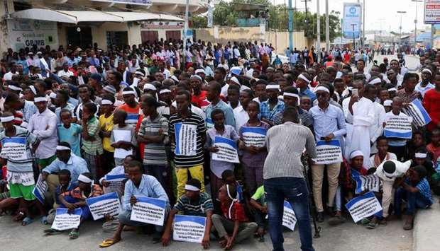 Somali people gather to commemorate the first anniversary of bombing attack which killed more than 5