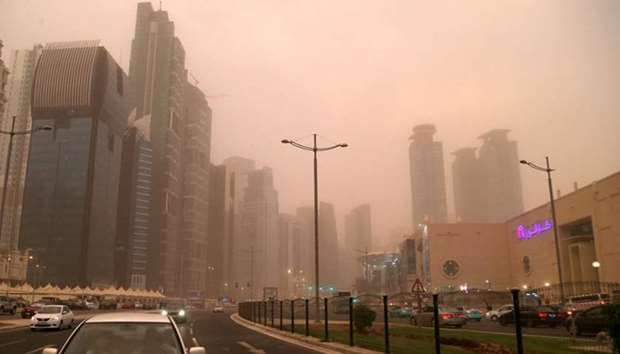 Dusty conditions and lightning strikes in parts of Doha