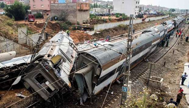 The scene of a rail accident in the Moroccan town of Bouknadel.