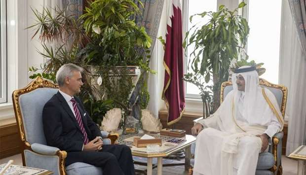 His Highness the Amir Sheikh Tamim bin Hamad al-Thani met the outgoing ambassador of Spain to Qatar,