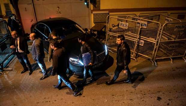 Turkish forensic police officers arrive at the Saudi Consulate for a second investigation in Istanbu