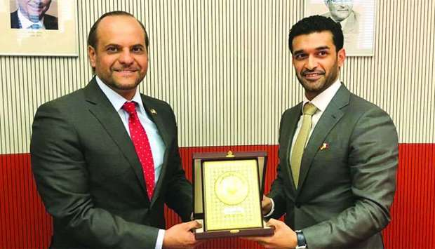 Qatar's Ambassador to Germany Sheikh Saoud bin Abdulrahman al-Thani is seen with SC Secretary Genera