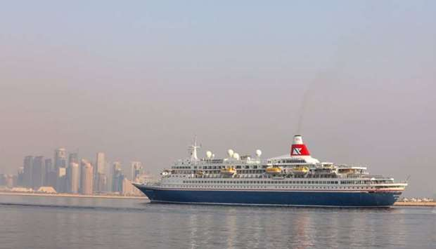 Cruise ship Boudicca arriving at Doha Port on October 2.