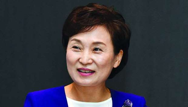 South Korea's Land, Infrastructure and Transport Minister Hyunmee Kim during her official visit in D