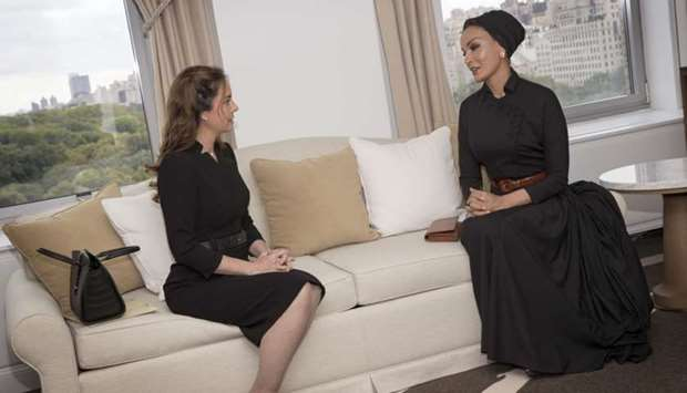 Her Highness Sheikha Moza bint Nasser, chairperson of Education Above All, with the First Lady of Pa
