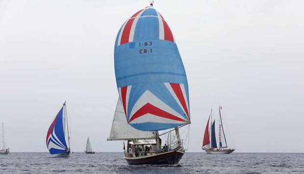 Gulettes sail off the shores of Bodrum
