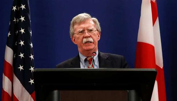 John Bolton speaks during a news briefing following his meetings with Georgian officials in Tbilisi