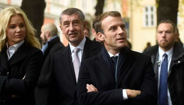 French President Emmanuel Macron (R), Czech Prime Minister Andrej Babis and his wife Monika Babisova
