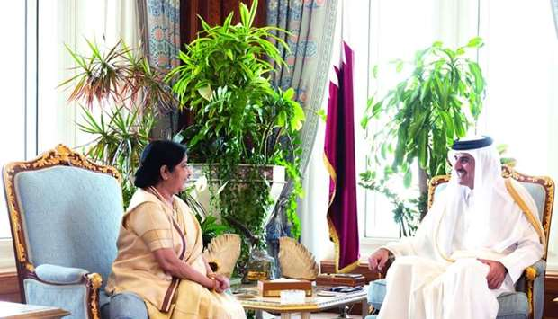 His Highness the Amir Sheikh Tamim bin Hamad al-Thani Monday met India's External Affairs Minister S