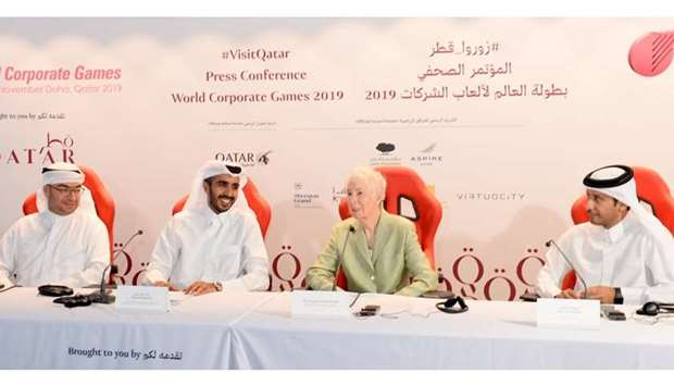 From left: Mohamed Jaidah, Rashed al-Qurese, Dr Maureen Johnston and Saud al-Dulaim at the press con