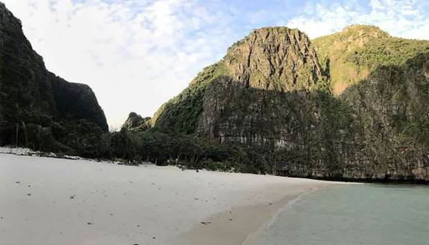 The beach on Maya Bay closed to visitors on the southern Thai island of Koh Phi Phi