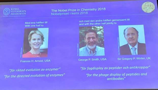 Pictures of the 2018 Nobel Prize laureates for chemistry: Frances H. Arnold of the United States, Ge