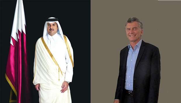 His Highness the Amir Sheikh Tamim bin Hamad al-Thani, Mauricio Macri, President of Argentina.