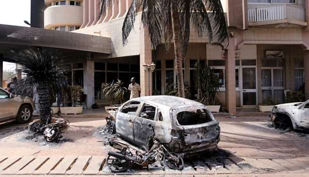 A view of the aftermath of a battle between Burkina Faso security forces and militants who attacked