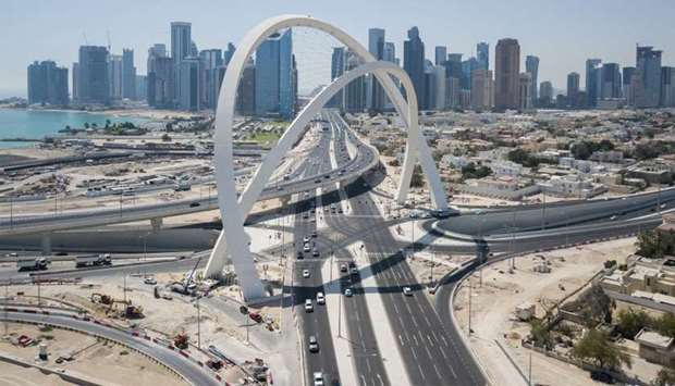 An aerial view of the 5/6 interchange, featuring the highest landmark in Qatar, 100m high arches.