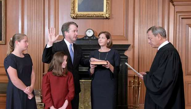Judge Brett Kavanaugh is sworn in as an Associate Justice of the US Supreme Court
