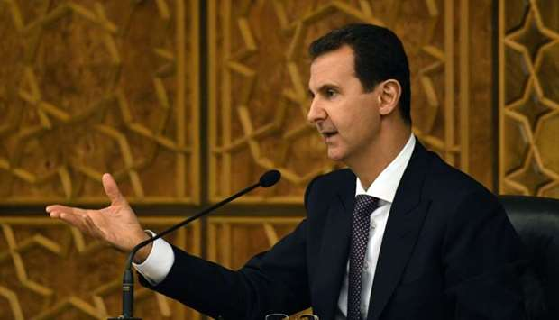 Syria's President Bashar al-Assad as he chairs the central committee of the ruling Baath party